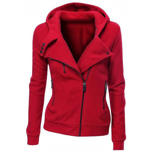 Lapel Collar Zippered Slim Womens Hoodie - Oh Yours Fashion - 7