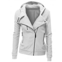 Lapel Collar Zippered Slim Womens Hoodie - Oh Yours Fashion - 8