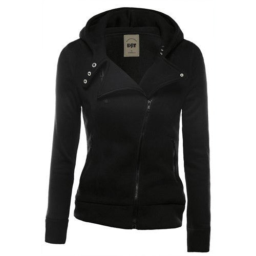 Lapel Collar Zippered Slim Womens Hoodie - Oh Yours Fashion - 2