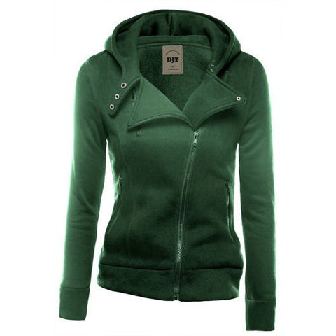 Lapel Collar Zippered Slim Womens Hoodie