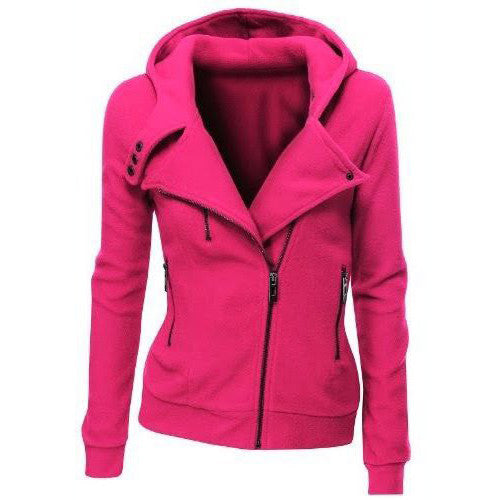 Lapel Collar Zippered Slim Womens Hoodie - Oh Yours Fashion - 6