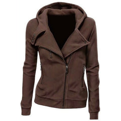Lapel Collar Zippered Slim Womens Hoodie - Oh Yours Fashion - 3