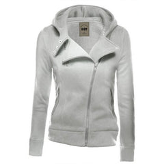 Lapel Collar Zippered Slim Womens Hoodie - Oh Yours Fashion - 5
