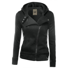 Lapel Collar Zippered Slim Womens Hoodie - Oh Yours Fashion - 4