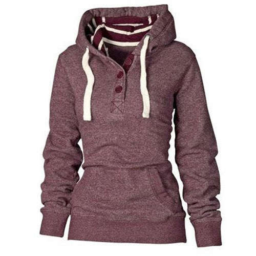 Striped Hooded Button Pocket Pullover Hoodie - O Yours Fashion