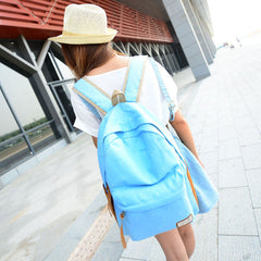 Polka Dot Candy Color Canvas Backpack School Bag - Oh Yours Fashion - 7