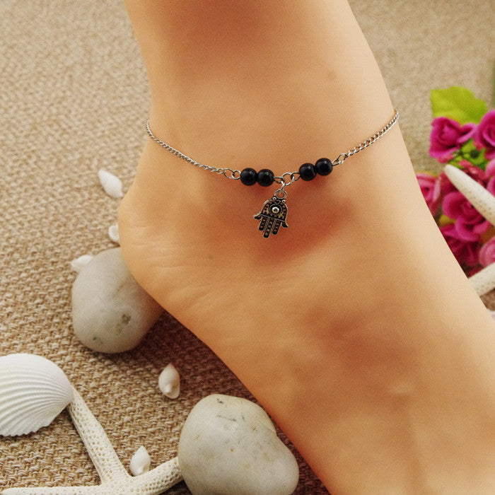 Bead Hand Tassel Anklet - Oh Yours Fashion - 1