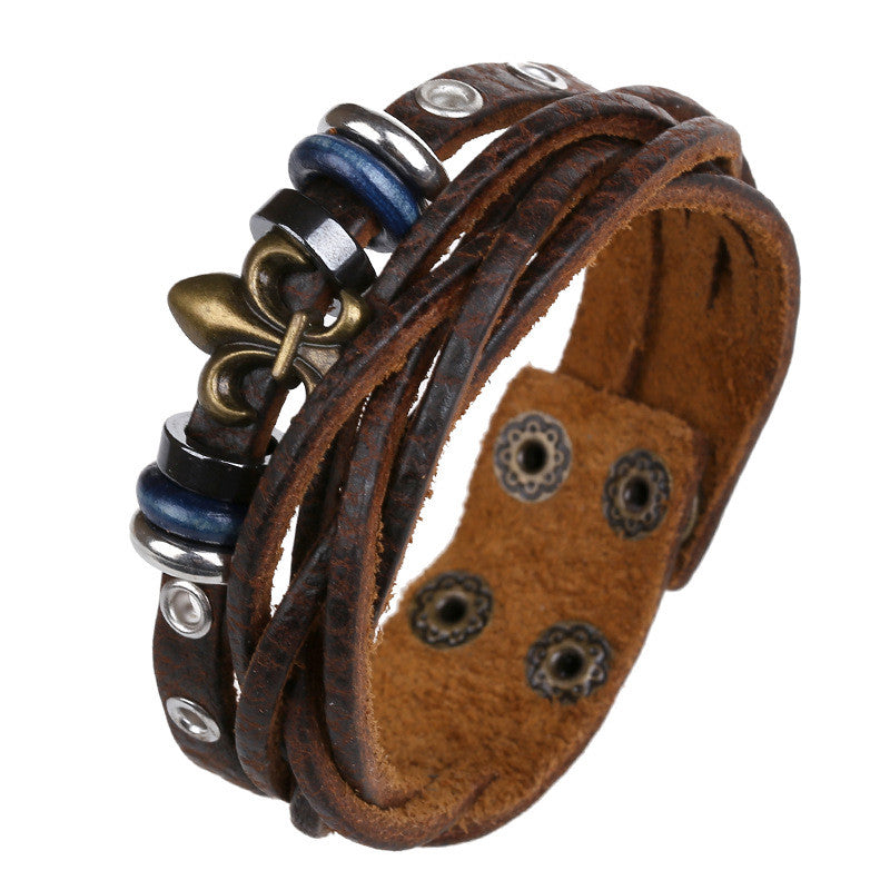 Beaded Flower Woven Leather Bracelet - Oh Yours Fashion - 1