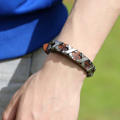 Alloy X Mark Leather Bracelet - Oh Yours Fashion - 1