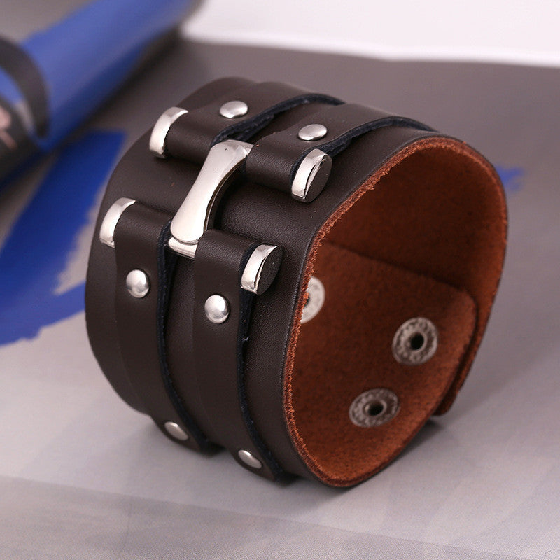 Personality Punk Wide Leather Bracelet - Oh Yours Fashion - 3