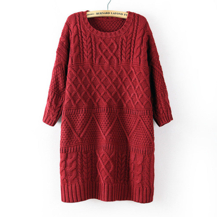 Diamond Cable Retro Knit Long Pullover Sweater - Oh Yours Fashion - 3
