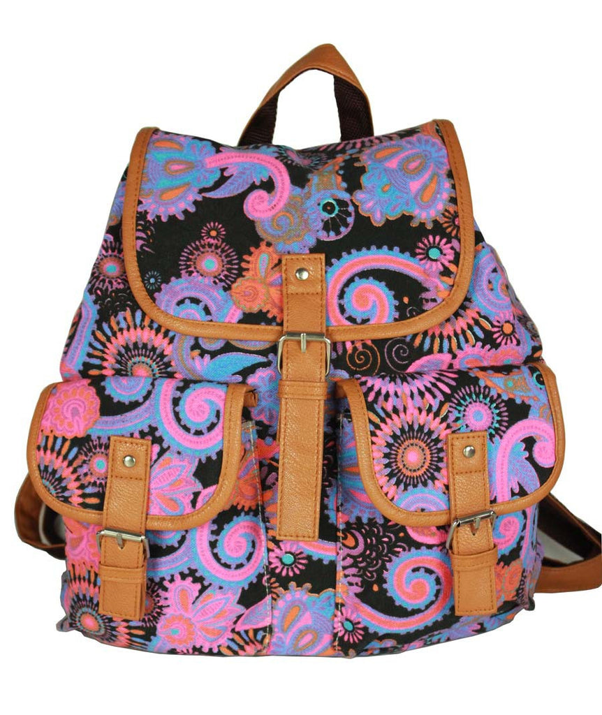 Ethnic Print Belt Buckled Cool Backpack Travel Bag - Oh Yours Fashion - 1