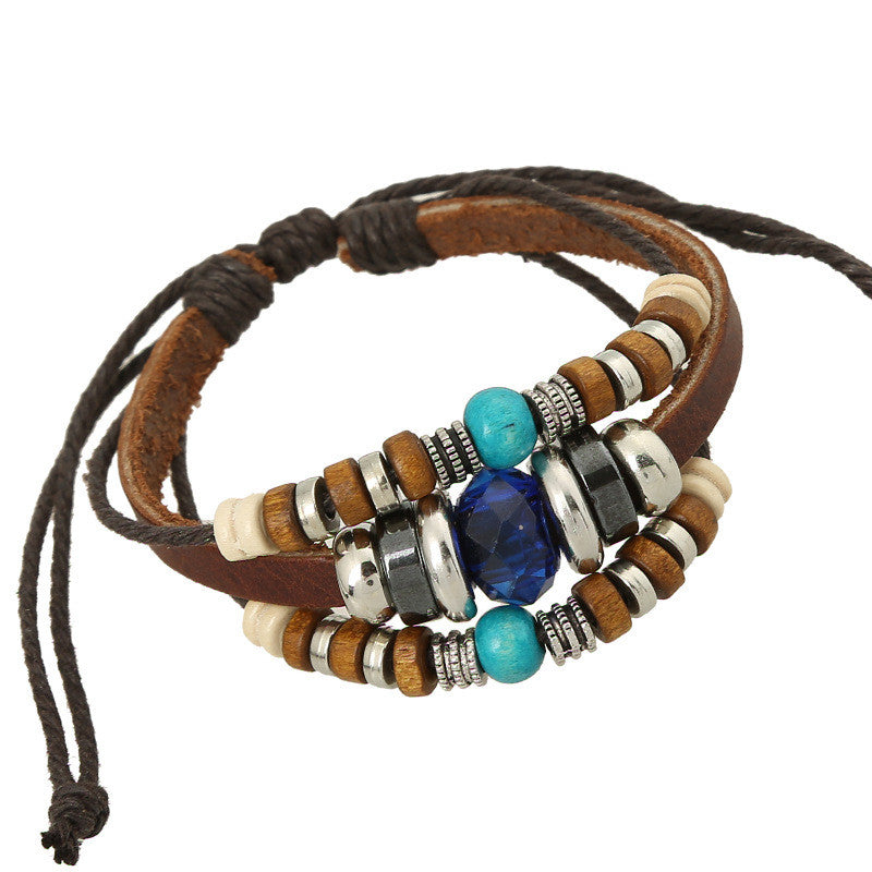 Blue Crystal Beaded Leather Woven Bracelet - Oh Yours Fashion - 1