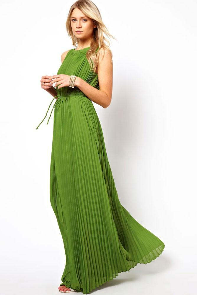 Floor-length Pleated Sleeveless Scoop Prom Dress - Meet Yours Fashion - 2