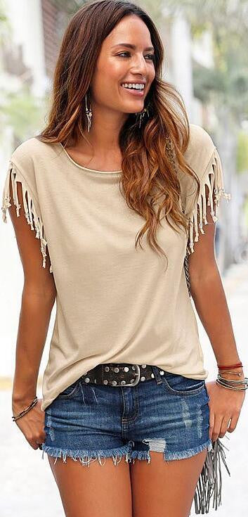 Round Neck Short Sleeve Tassel Soft Cotton T-Shirt - Oh Yours Fashion - 3