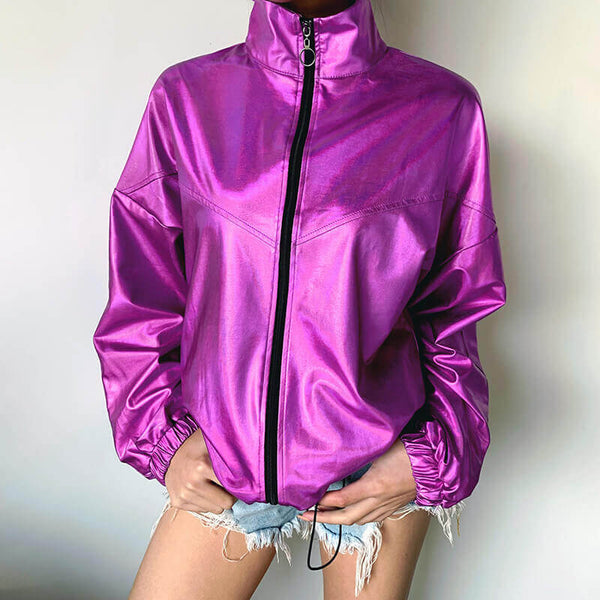Reflective Stand Collar Jacket