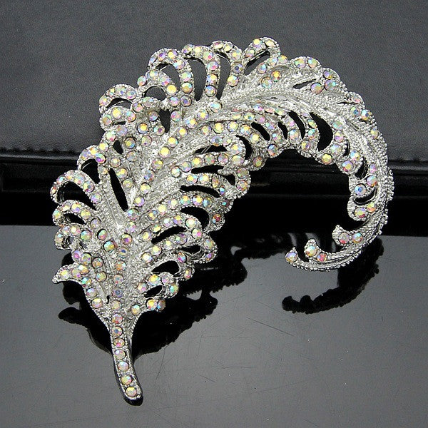 Elegant Feather Diamond Crystal Brooch - Oh Yours Fashion - 2