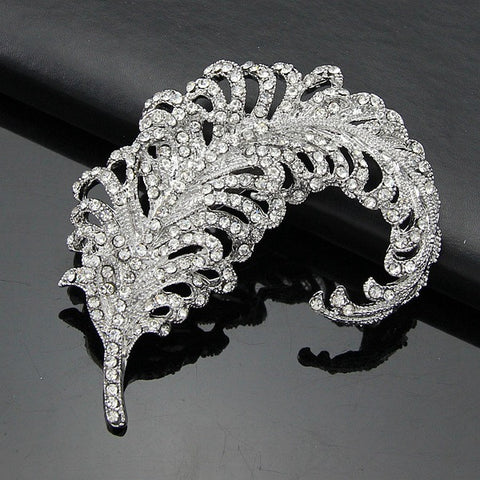 Elegant Feather Diamond Crystal Brooch