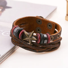 Retro Star Leather Woven Braided Bracelet - Oh Yours Fashion - 3