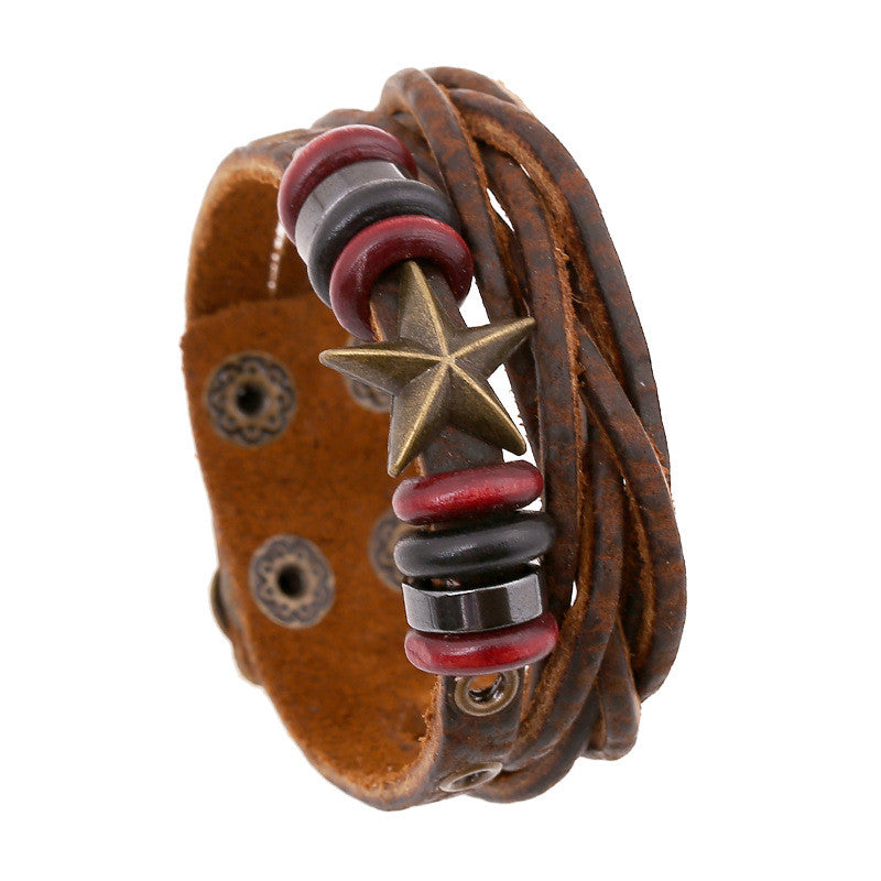 Retro Star Leather Woven Braided Bracelet - Oh Yours Fashion - 1