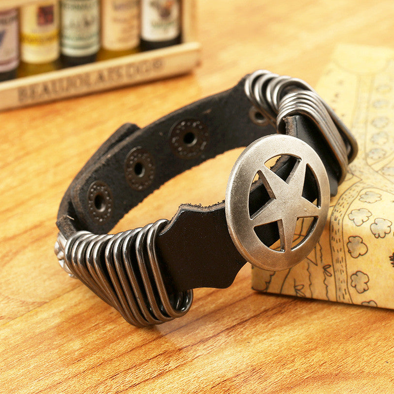 Hoop Circular Pentagram Leather Bracelet - Oh Yours Fashion - 3