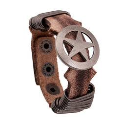 Hoop Circular Pentagram Leather Bracelet - Oh Yours Fashion - 1