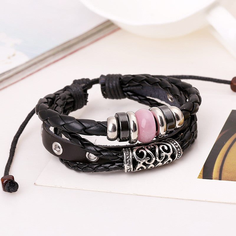 Personality Beaded Multilayer Leather Bracelet - Oh Yours Fashion - 2