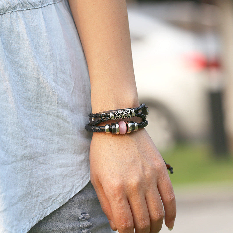 Personality Beaded Multilayer Leather Bracelet - Oh Yours Fashion - 3