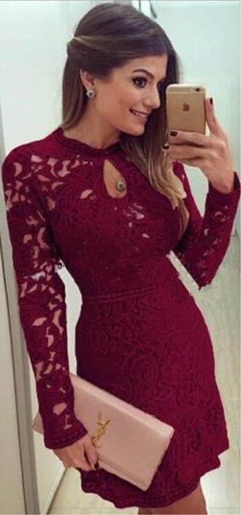 Sexy Long Sleeve Hollow Out Lace Short Dress - Oh Yours Fashion - 2