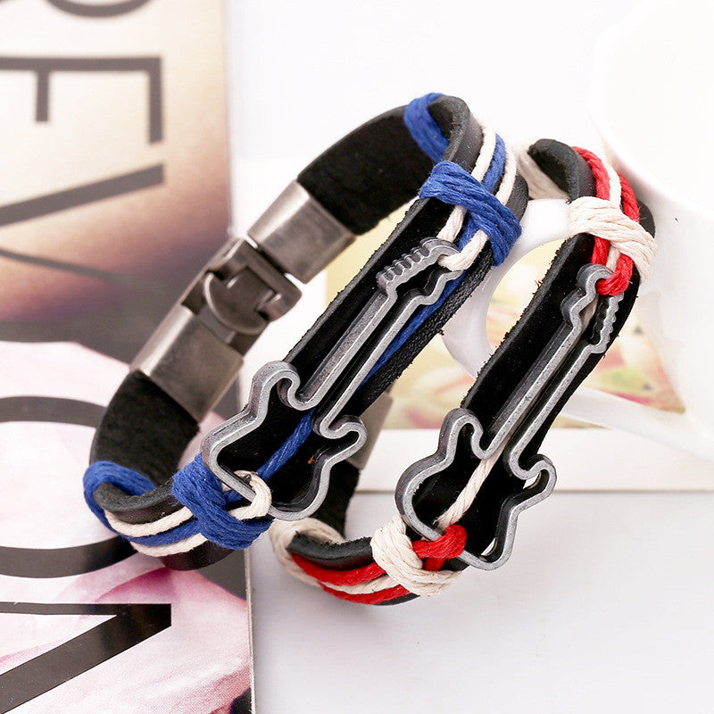 Alloy Guitar Leather Woven Bracelet - Oh Yours Fashion - 3