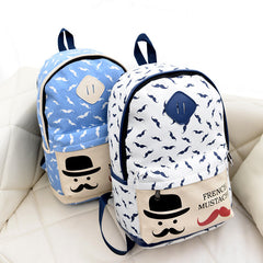 Mustache Print Fashion Backpack School Bag - Oh Yours Fashion - 7