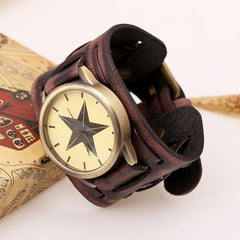 Punk Style Star Dial Leather Woven Watch - Oh Yours Fashion - 4