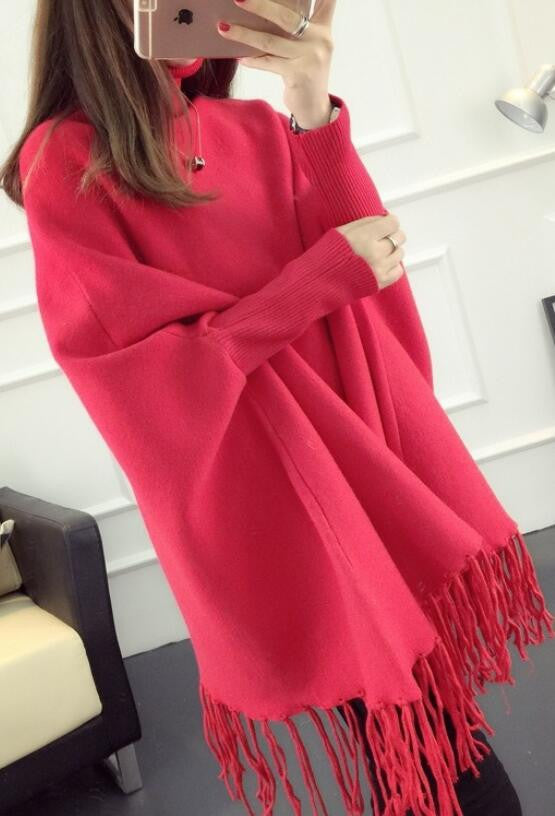 Fashion High Neck Tassel Cloak Sweater - Oh Yours Fashion - 2