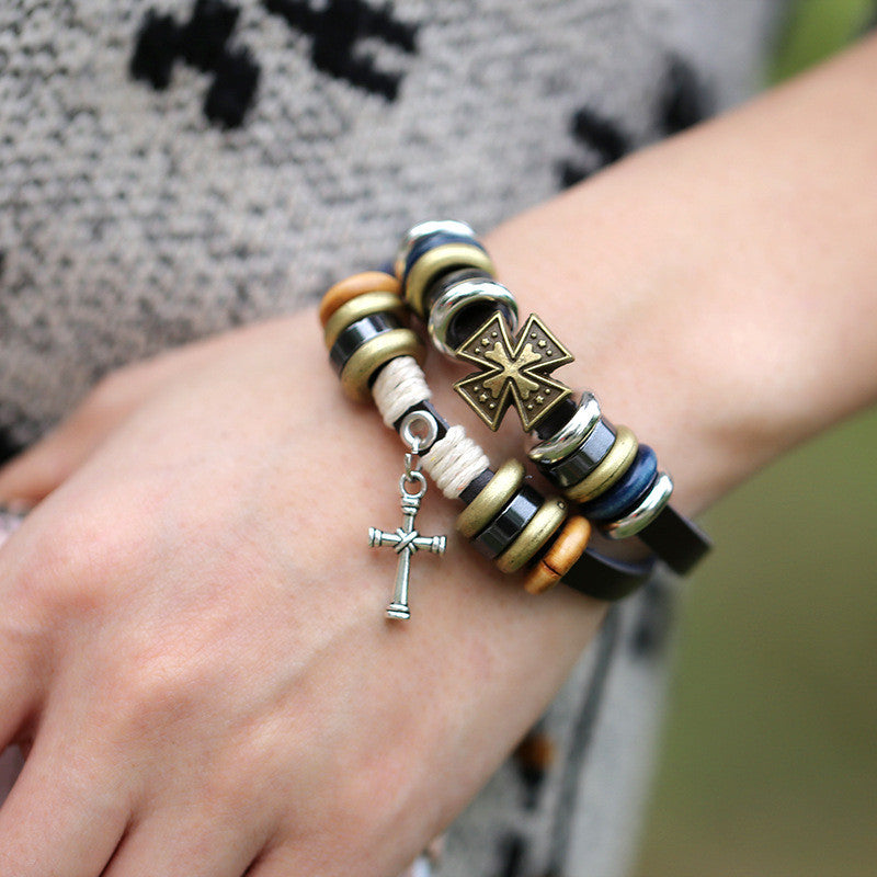 Cross Beaded Multilayer Leather Bracelet - Oh Yours Fashion - 1