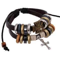 Cross Beaded Multilayer Leather Bracelet - Oh Yours Fashion - 2
