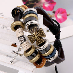 Cross Beaded Multilayer Leather Bracelet - Oh Yours Fashion - 3