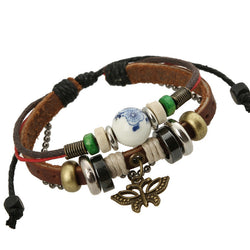 Sweet Butterfly Beaded Leather Bracelet - Oh Yours Fashion - 1