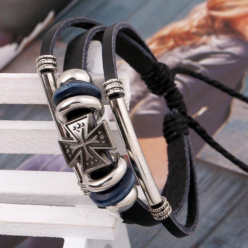 Hot Sale Cross Beaded Leather Bracelet - Oh Yours Fashion - 3