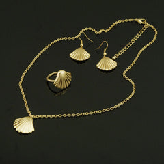 Metal Shell Shape Necklace Ring Earrings - Oh Yours Fashion - 5