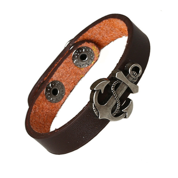 Simple Fashion Anchor Decorate Leather Bracelet - Oh Yours Fashion - 2
