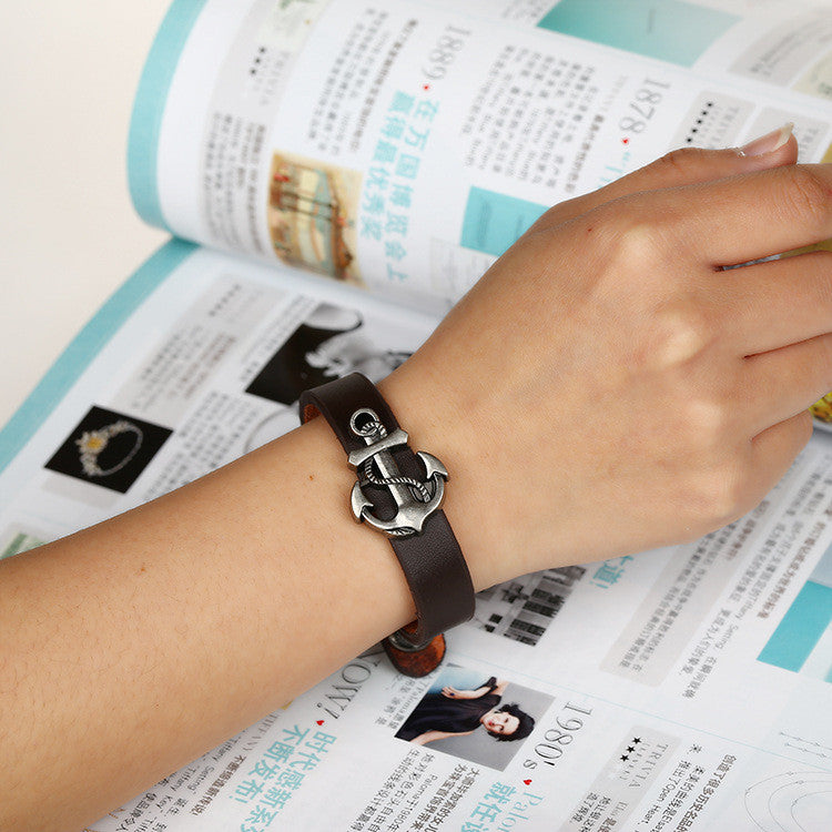 Simple Fashion Anchor Decorate Leather Bracelet - Oh Yours Fashion - 1
