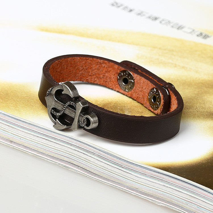 Simple Fashion Anchor Decorate Leather Bracelet - Oh Yours Fashion - 3