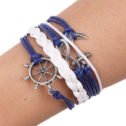 Anchor Rudder Wax Rope Bracelet - Oh Yours Fashion - 1