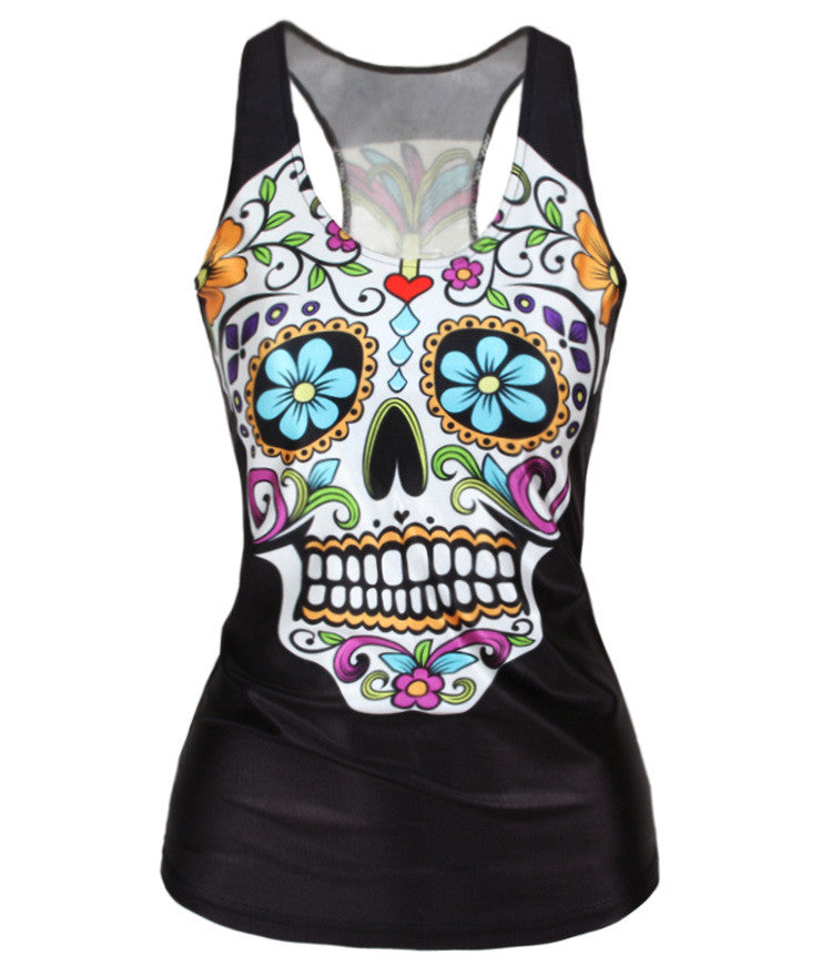 Flower Print Skull H-shaped Sheath Fashion Vest - Oh Yours Fashion - 3