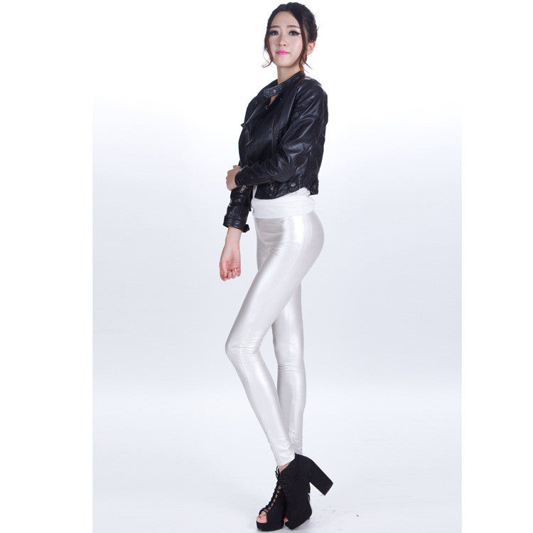 Pure Color Regular Waist PU Slim Leggings - Oh Yours Fashion - 7