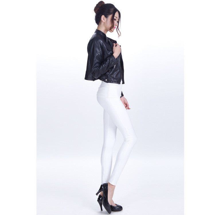 Pure Color Regular Waist PU Slim Leggings - Oh Yours Fashion - 5