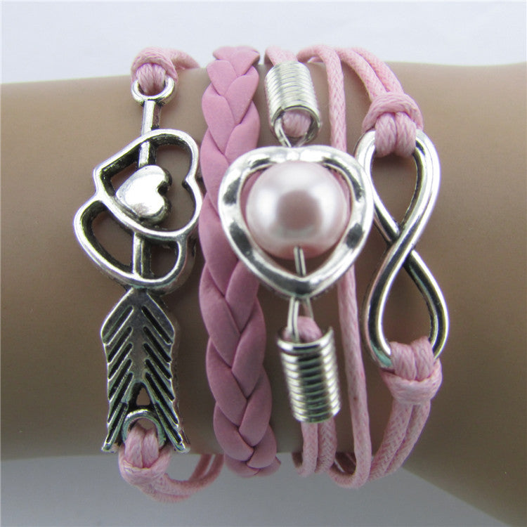 Arrow Through Heart Woven Multilayer Bracelet - Oh Yours Fashion - 1