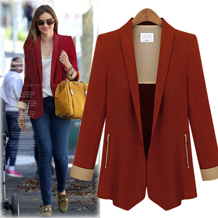 Turn-down Patchwork Zipper OL Fashion Short Slim Blazer - Oh Yours Fashion - 5
