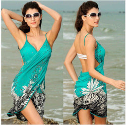 Spaghetti Straps Print Backless Short Beach Cover Up Dress - Oh Yours Fashion - 1