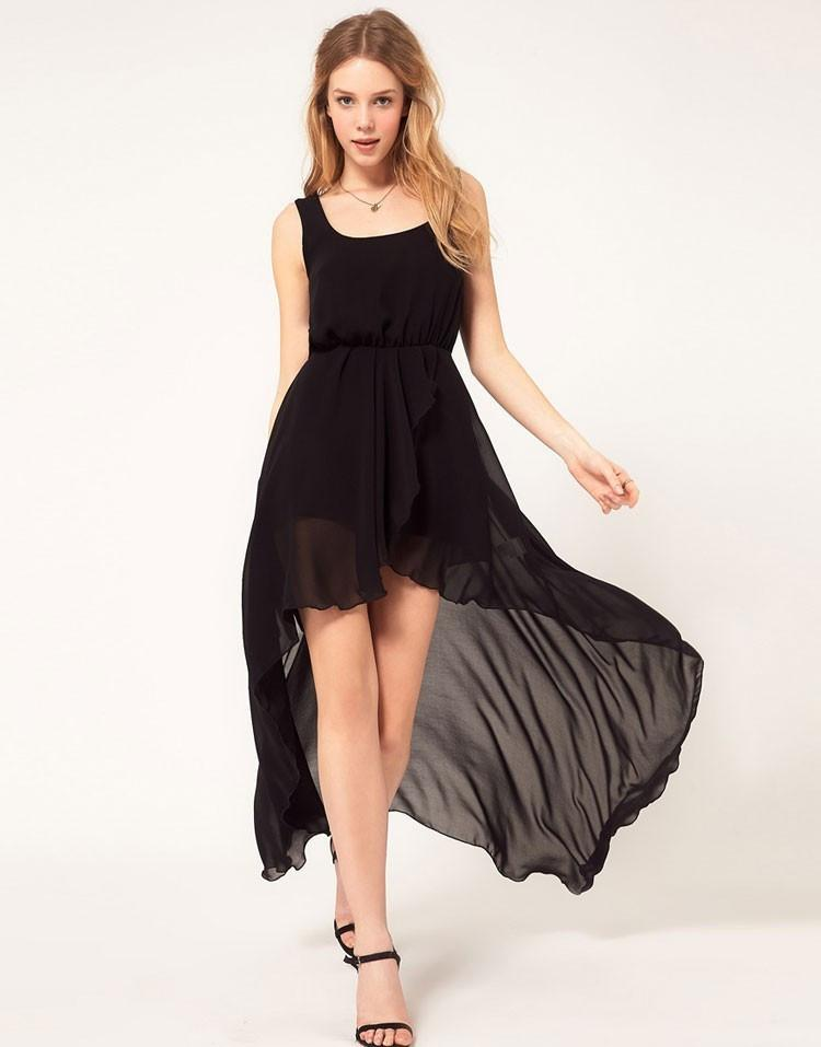Sleeveless Sexy Irregular Chiffon Strap Scoop Dress - Meet Yours Fashion - 3